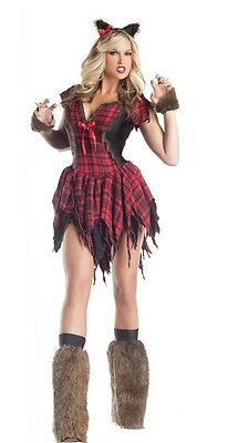 King Size Halloween Costumes (Werewolf Plaid Halloween Costume Furry Women's Size Medium Party King 4pc)