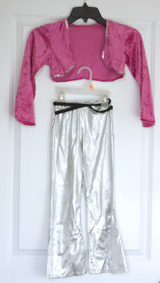 Barbie Rock Star Costume Size Small, Silver Bellbottom Pants, Pink Sequin Top](Rock Star Costume)