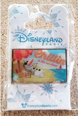 New Mint Olaf Chillin in the Sun Frozen Anna Elsa Disneyland Paris Dlp 2015 Pin