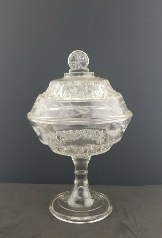 """EAPG 11"""" Tall Covered Compote 1800"""