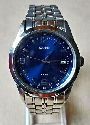 Accurist MB419 Men's Quartz Wrist Watch Date Stainless Steel Blue Dial
