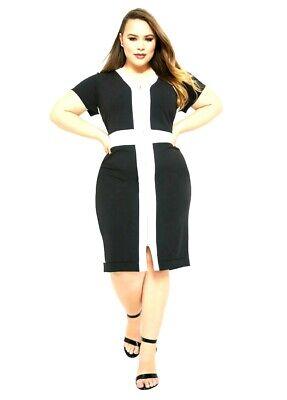 Nuevo Ashley Stewart Mujer B&w Bloque Color con Cremallera Vestido Talla Grande