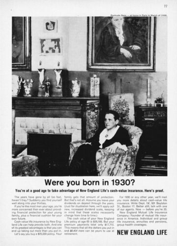 1930 Novelist Gertrude Stein photo 1962 New England Life vintage promo print ad
