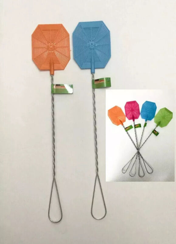 """2 PC 21"""" WIRE MESH FLY SWATTER PLASTIC SCREEN BLADE 4""""X5"""" INSECT KILLER 4 COLORS"""