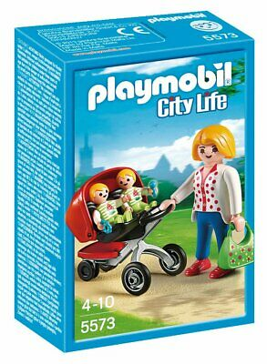 Playmobil 5573 City Life Mother With Twin Stroller