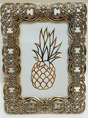 Antique Looking Gold Cut Out pineapple Metal Picture Photo 4×6 Wedding Frame ()