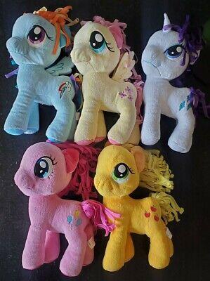 My Little Pony Plush Toys Lot of 5 - Applejack, Fluttershy, Rarity, Pinkie Pie