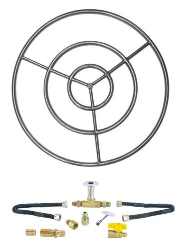 """6"""" 12"""" 18"""" 24"""" 30"""" Stainless Steel Gas Fire Pit Burner Ring Deluxe Kit NG LP"""