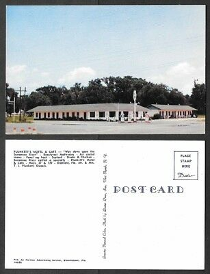 Old Florida Hotel Postcard - Branford - Plunkett's Motel and Cafe