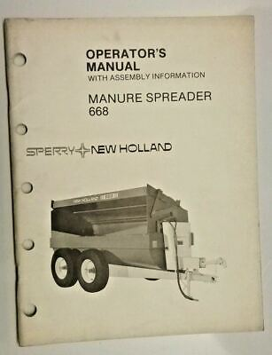 Sperry New Holland Manure Spreader 668 Operators Manual 43066810