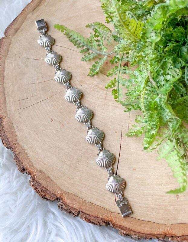 """VTG G&D&Co. Marked Sterling Silver 13g Seashell Chain Link Bracelet Shell 7.25"""""""
