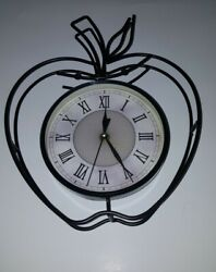 WROUGHT IRON APPLE SHAPE WALL CLOCK WORKS 10in x 13in