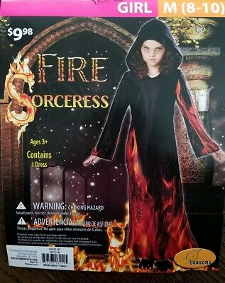 Halloween Costume Girls Fire Sorceress Size M 8-10](Fire Girl Costume Halloween)