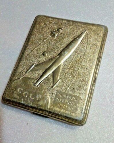 Vintage Russian Space Cigarette Case Soviet Earth Satellites USSR 1957-1958