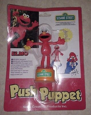 Sesame Street Elmo Vintage 90S Push Puppet From Japan
