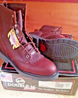 """Double H 9814 8""""  7.5D,13D Steel Toe Work Lacer Boot EH Leather Responder USA!!!"""