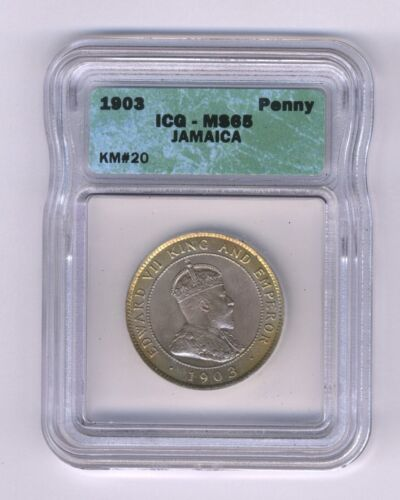 JAMAICA  1903  1 PENNY  COIN, CHOICE UNCIRCULATED, ICG CERTIFIED MS-64