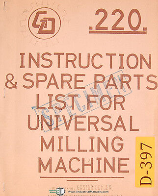 Dufour Gaston No. 220 Universal Milling Mahcine Instructions And Parts Manual