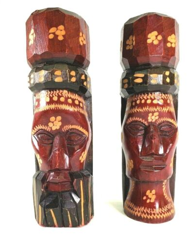 Hand Carved Wood Tiki Heads Hand Painted 10""
