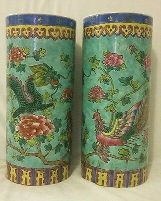 2 Pair Vintage Hand Painted Chinese Tongzhi Famille Rose Turquoise Vases