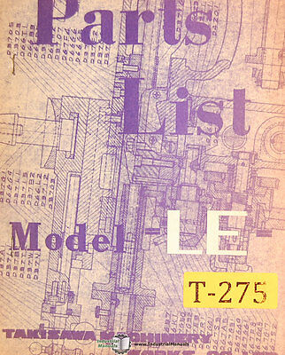 Takisawa Le Lathe Operations And Parts Manual 1968