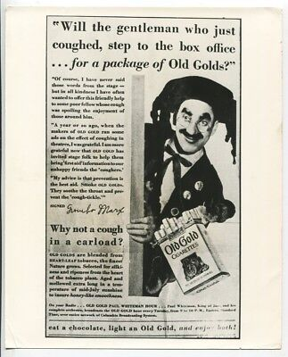 Groucho Marx Old Gold Cigarettes Advertisement Photo Brothers Harpo Chico J2505