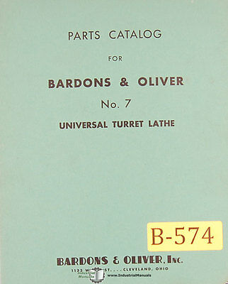Bardons Oliver No. 7 Turret Lathe Parts Manual 1941