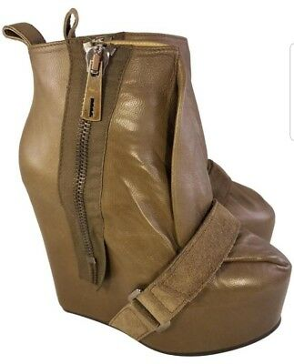 ACNE STUDIO WOMAN BOOTS WEDGES PLATFORM TAUPE LEATHER SIZE 36 EUC