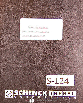 Schenck Ar 23235 Balancing Machine Users Instruction Manual 1954