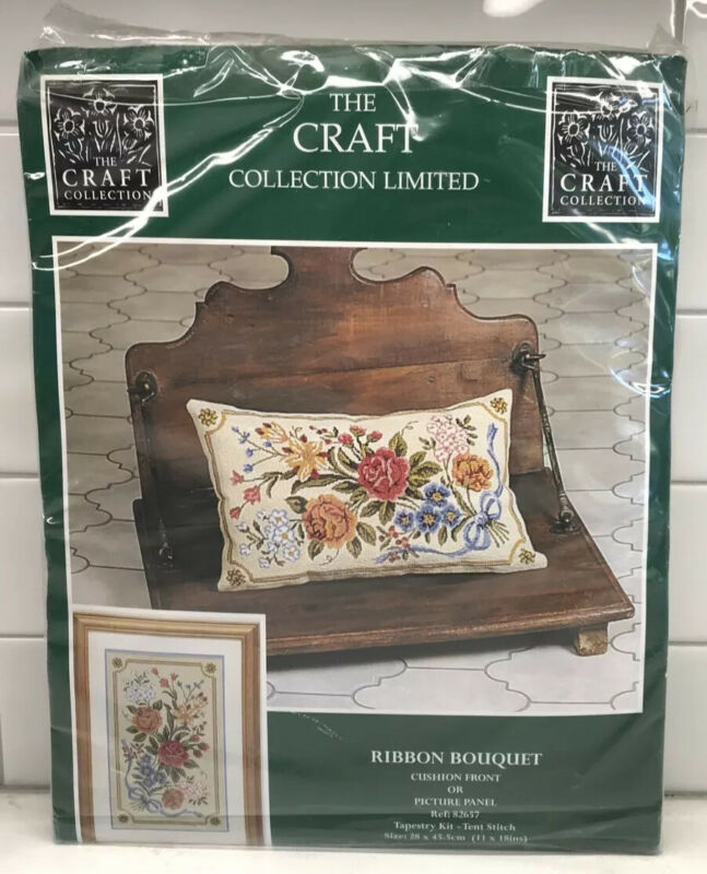 VTG Craft Collection Limited Ribbon Bouquet Pillow/Picture Tapestry Kit Opened