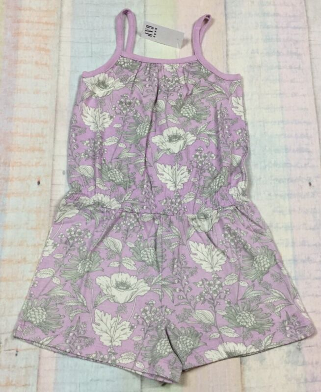 Baby Gap Girls 5 / 5T Purple Floral Shorts Romper. Nwt
