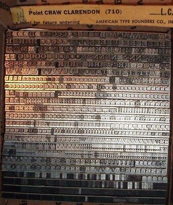 Vintage 14pt Craw Clarendon 710 Letterpress Foundry Type Printing Antique
