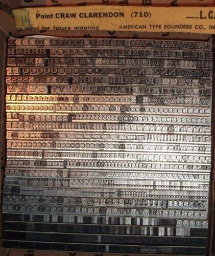 "VINTAGE 14pt ""CRAW CLARENDON"" (710) LETTERPRESS FOUNDRY TYPE PRINTING ANTIQUE"