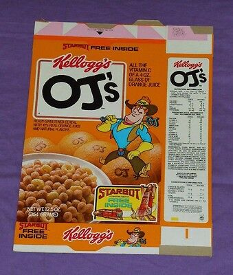 vintage original Kellogg's OJ'S CEREAL BOX FLAT (box has Starbot offer)