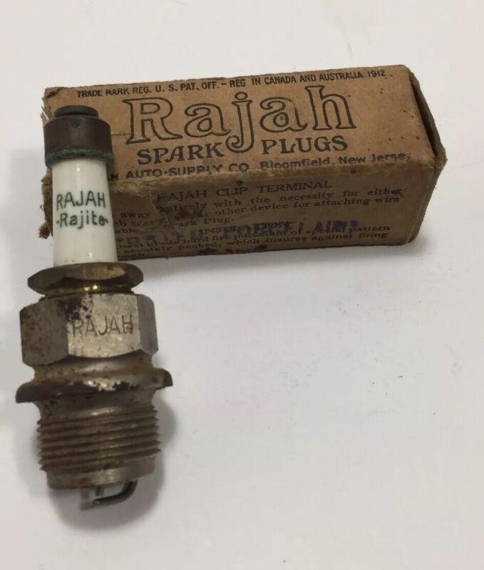 "Antique Rajah Rajite Spark Plug NOS 1906 1912 Original Box 7/8"" Thread 22 mm"
