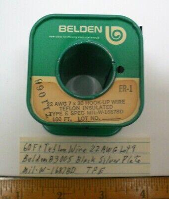 60 Ft. Teflon Wire 22 Awg Belden 83005 Silver Plate Mil-w-16878d Lot 9 Usa