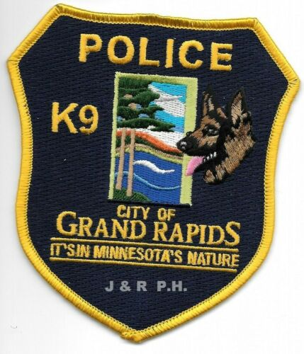 "Grand Rapids  K-9, Minnesota (4"" x 4.5"" size) shoulder police patch (fire)"