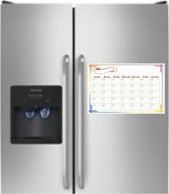 17 X 11 Monthly Dry Erase Magnetic Refrigerator Calendar Message Color