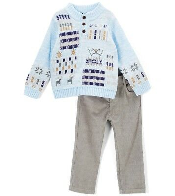 Boys ONLY KIDS plaid blue sweater outfit 12M NWT deer gray dress pants 6-12-18