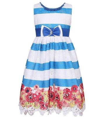 Girls RICHIE HOUSE boutique party dress 4 5 6 8 NWT blue white lace beads