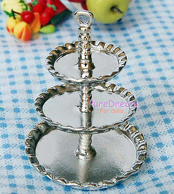Dollhouse Miniatures Dining Silver Serving 3Tier Platter Dinner Tray Plate DK034