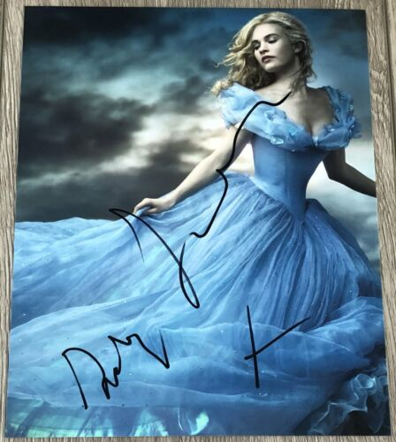 LILY JAMES SIGNED AUTOGRAPH DISNEY CINDERELLA 8x10 PHOTO A w/PROOF