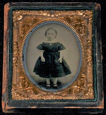 Vintage 1800's 1/9th Plate Ambrotype of Standing Little Girl /Half-Case