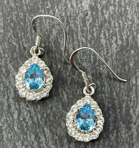 Vintage 925 Sterling Silver Drop Dangle Earrings Teardrop Blue Clear Glass