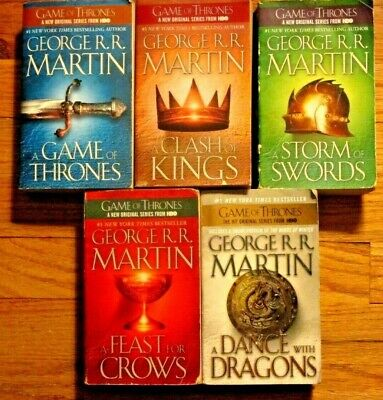 LOT OF ALL 5 BOOKS~GEORGE R.R. MARTIN'S A SONG OF ICE & FIRE~GAME OF THRONES~PB7