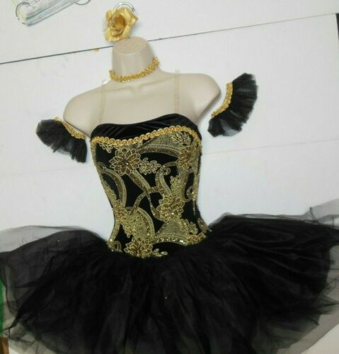 SHORT BALLET COSTUME GLITTERED Gold BLACK LADIES ATTACHED TULLE tutu Dance