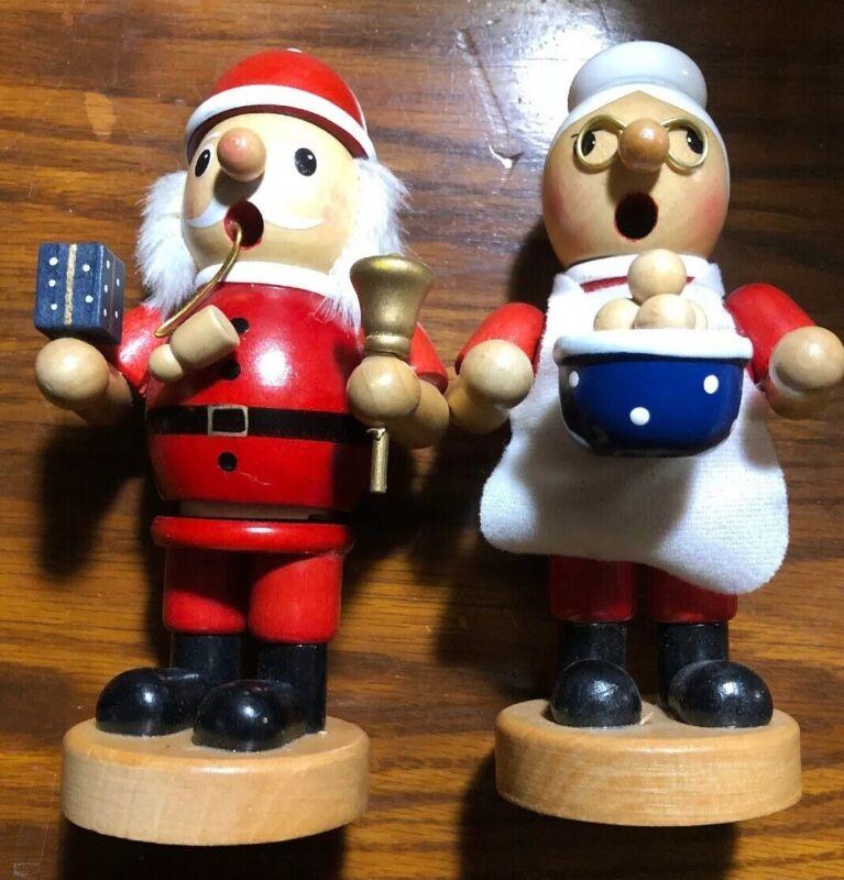 SIKORA Santa & Mrs Claus Wood Incense Smokers GERMANY