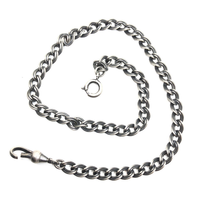 Vintage Victorian Art Deco Sterling Silver 925 Detailed Link Texture Watch Chain