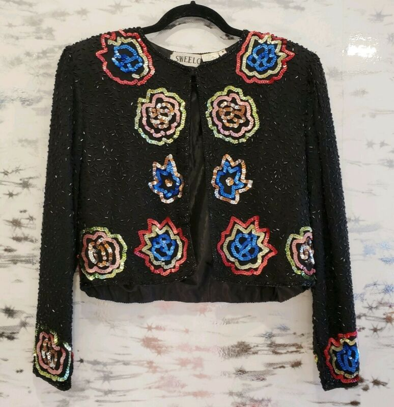Vintage Boho Black Floral Sequin Crop Jacket Medium
