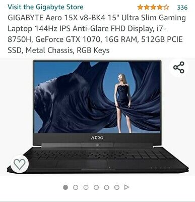 "GIGABYTE 15"" Gaming Laptop 144Hz IPS FHD, i7-8750H, 1070, 16G RAM, 512GB PCIE"